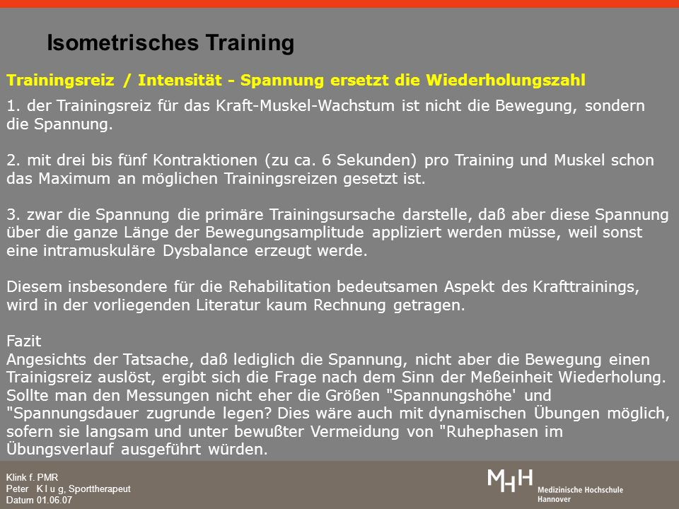 Isometrisches Training