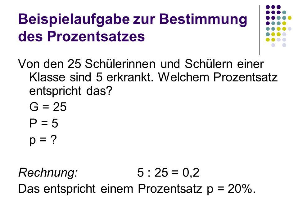 Beispielaufgabe zur Bestimmung des Prozentsatzes