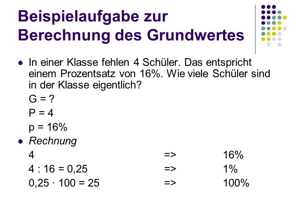 Beispielaufgabe zur Berechnung des Grundwertes