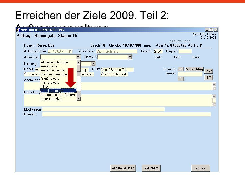Erreichen der Ziele 2009. Teil 2: Auftragsverwaltung