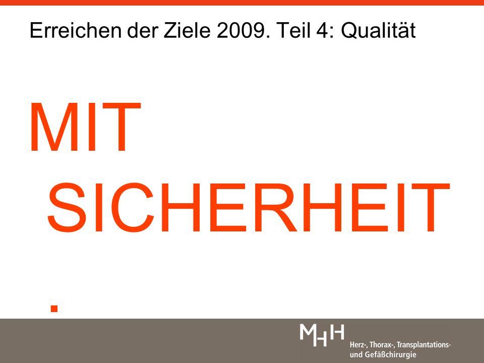 Erreichen der Ziele 2009. Teil 4: Qualität