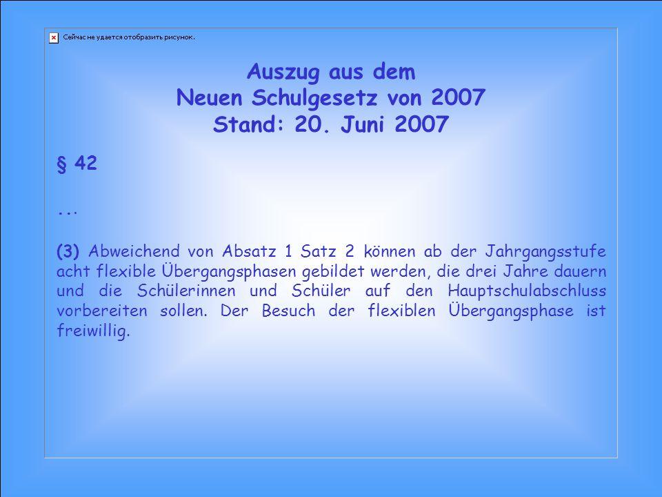 Auszug aus dem Neuen Schulgesetz von 2007 Stand: 20. Juni 2007 § 42