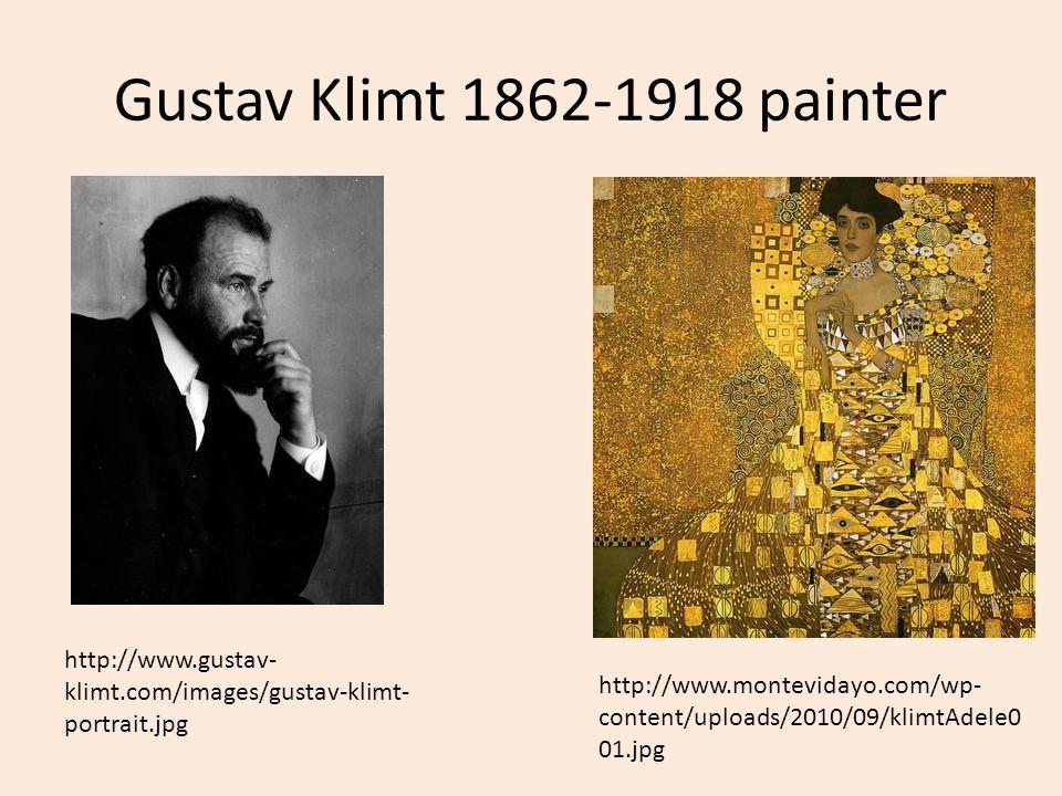 Gustav Klimt 1862-1918 painter http://www.gustav-klimt.com/images/gustav-klimt-portrait.jpg.
