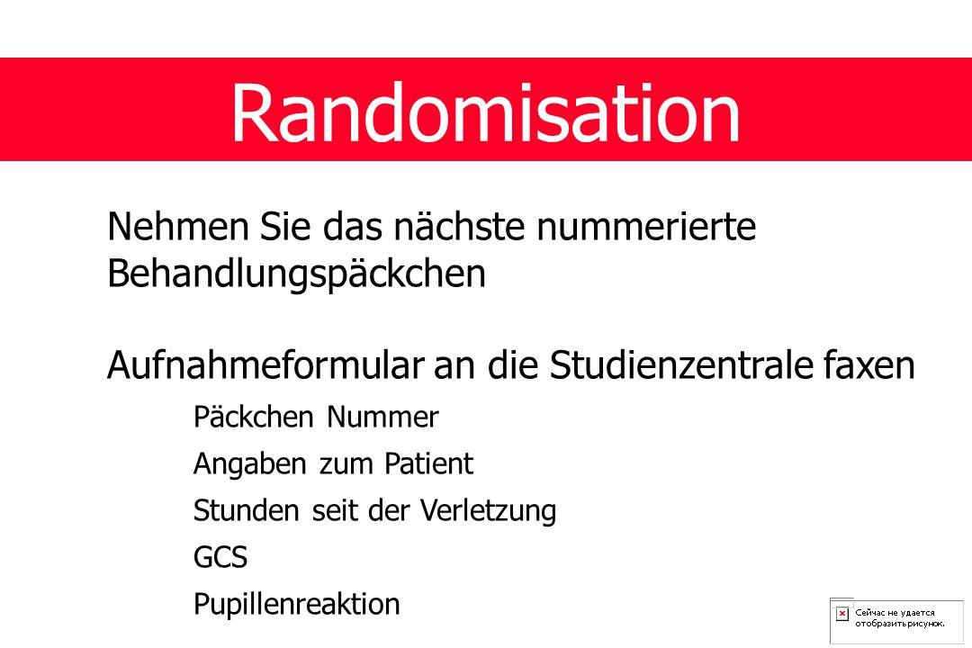 Randomisation Nehmen Sie das nächste nummerierte Behandlungspäckchen