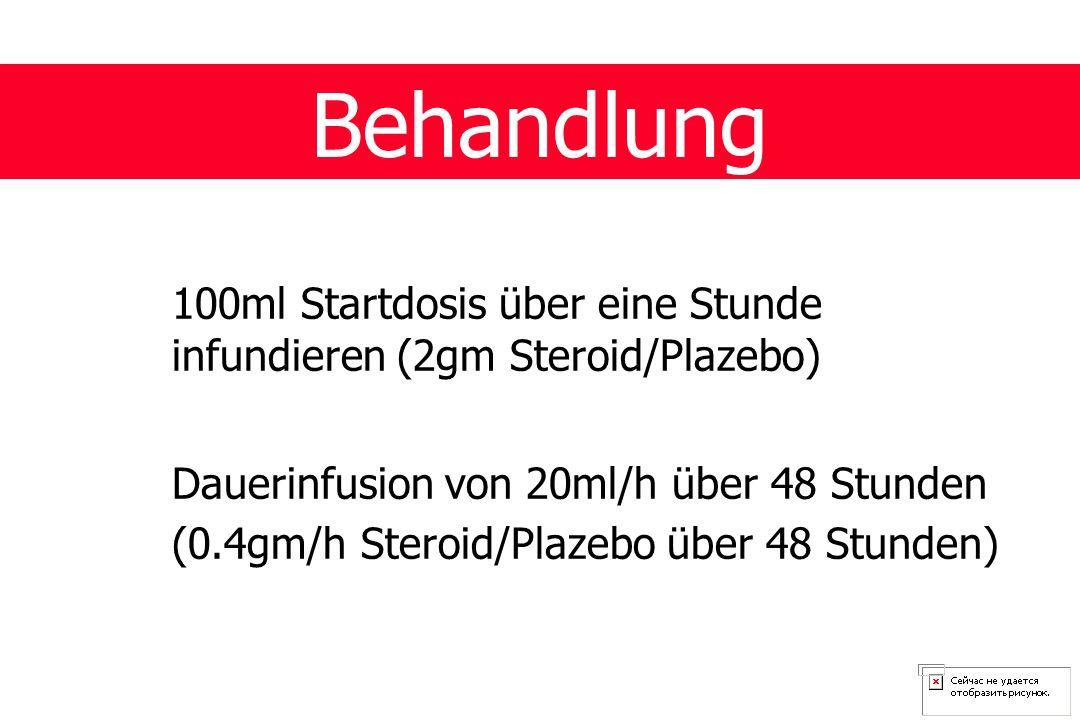 Behandlung 100ml Startdosis über eine Stunde infundieren (2gm Steroid/Plazebo) Dauerinfusion von 20ml/h über 48 Stunden.
