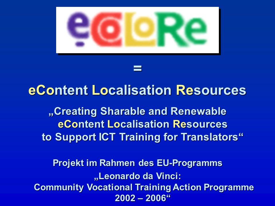 eContent Localisation Resources Projekt im Rahmen des EU-Programms