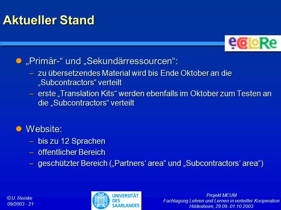 """Aktueller Stand """"Primär- und """"Sekundärressourcen : Website:"""
