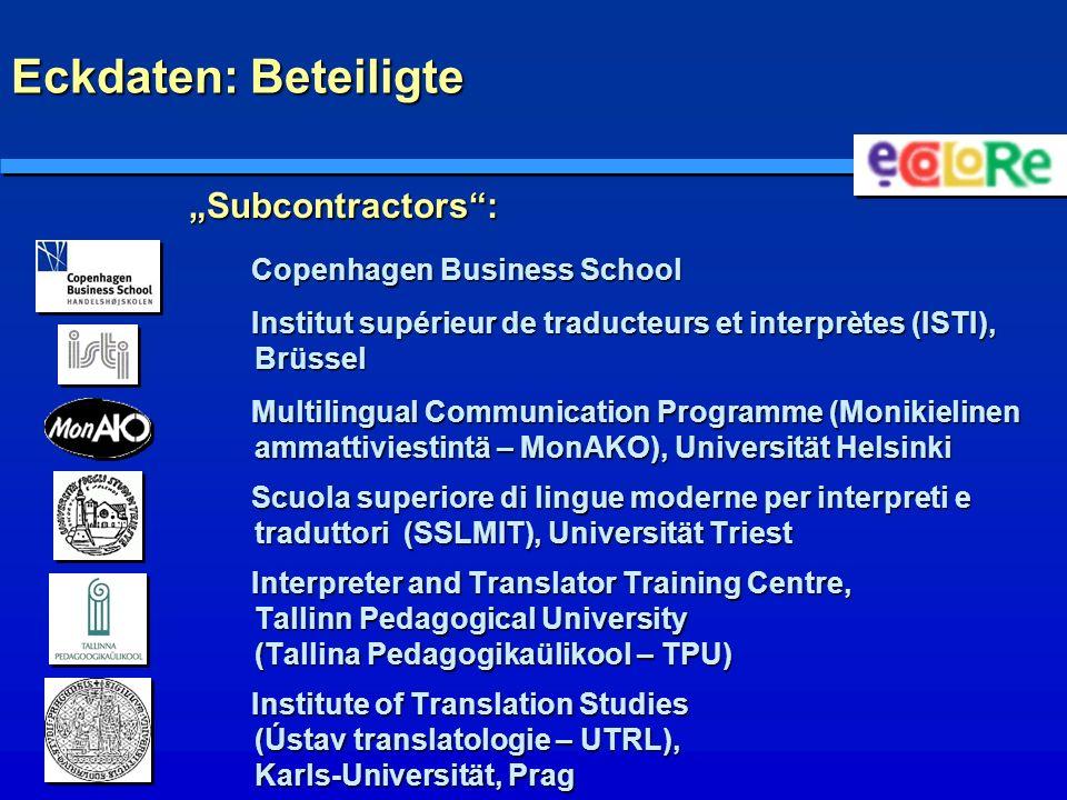 """Eckdaten: Beteiligte """"Subcontractors : Copenhagen Business School"""