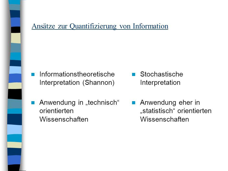 Ansätze zur Quantifizierung von Information