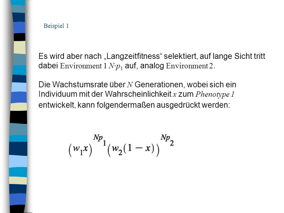 """Beispiel 1 Es wird aber nach """"Langzeitfitness selektiert, auf lange Sicht tritt dabei Environment 1 N·p1 auf, analog Environment 2."""