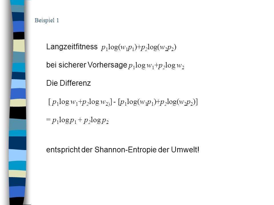 Langzeitfitness p1log(w1p1)+p2log(w2p2)