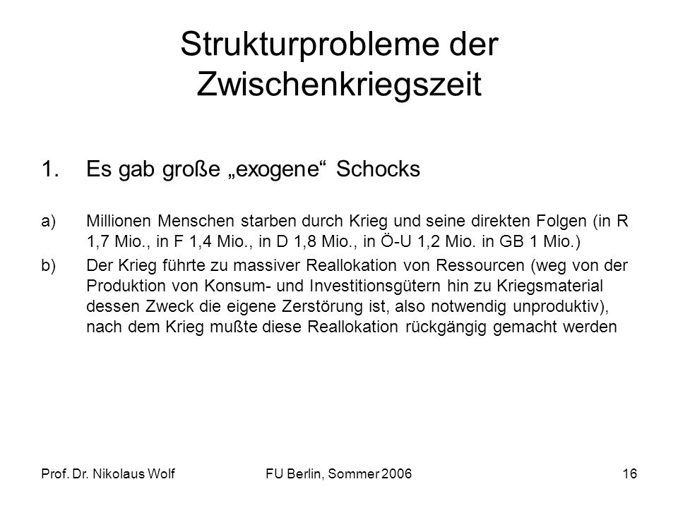 Strukturprobleme der Zwischenkriegszeit