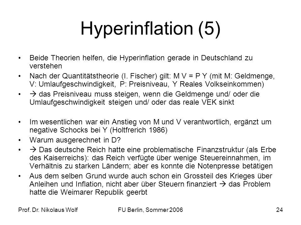 Hyperinflation (5)Beide Theorien helfen, die Hyperinflation gerade in Deutschland zu verstehen.