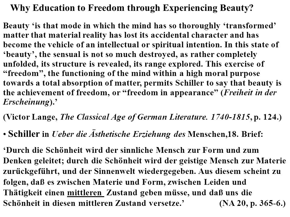 Why Education to Freedom through Experiencing Beauty
