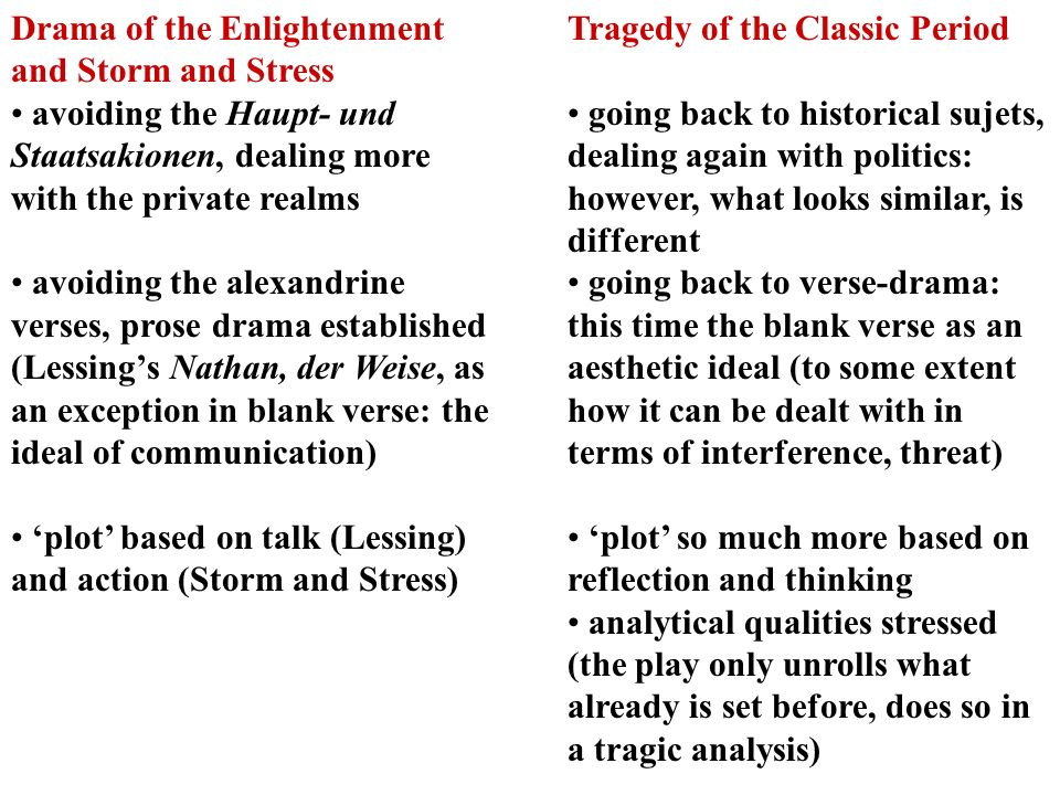 Drama of the Enlightenment and Storm and Stress