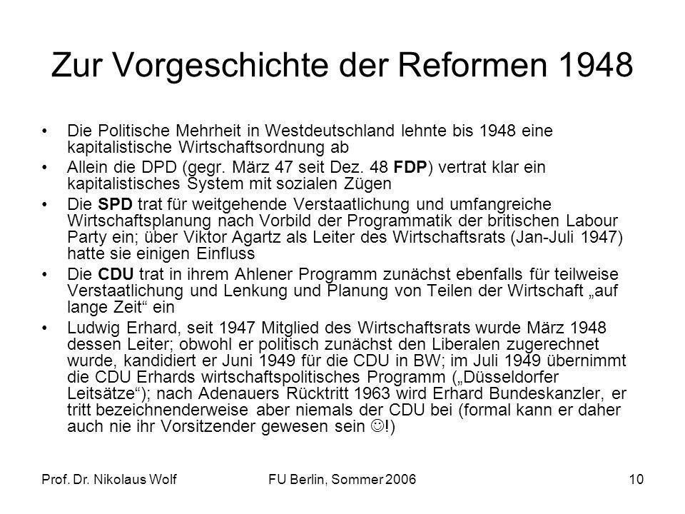 Zur Vorgeschichte der Reformen 1948
