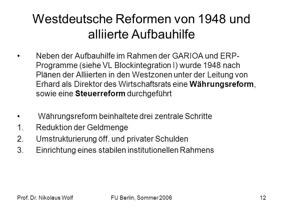 Westdeutsche Reformen von 1948 und alliierte Aufbauhilfe