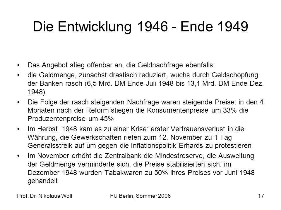 Die Entwicklung 1946 - Ende 1949 Das Angebot stieg offenbar an, die Geldnachfrage ebenfalls: