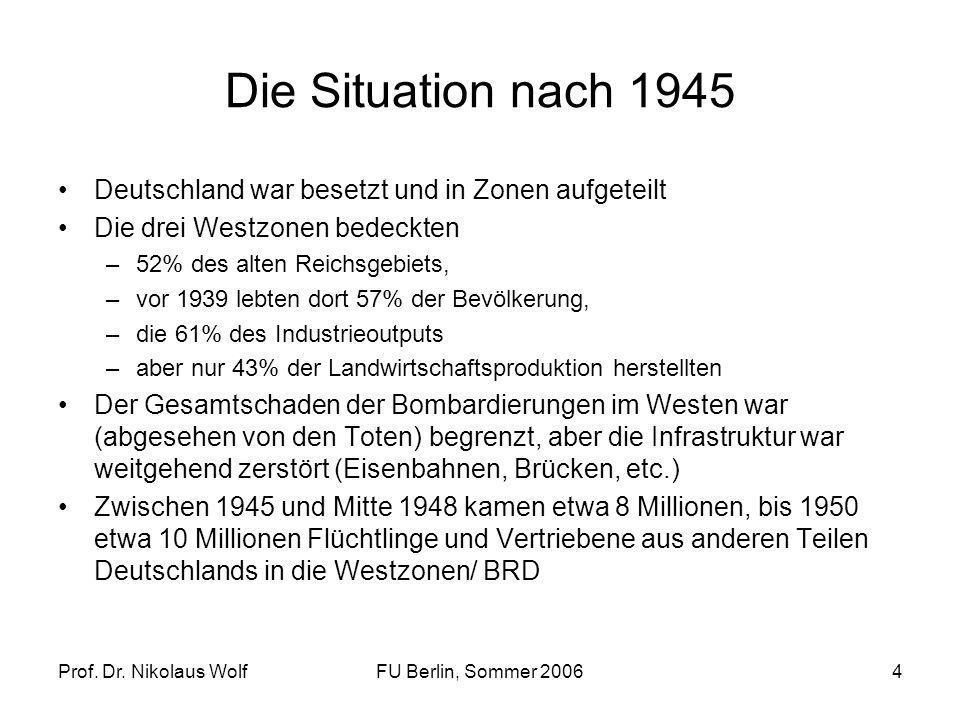 Die Situation nach 1945 Deutschland war besetzt und in Zonen aufgeteilt. Die drei Westzonen bedeckten.