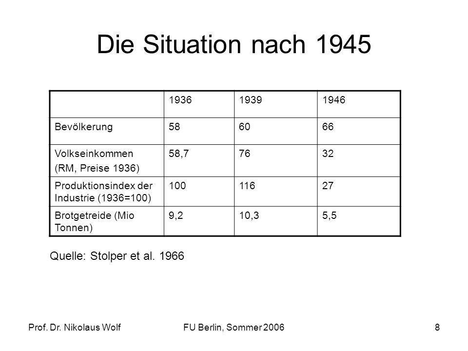 Die Situation nach 1945 Quelle: Stolper et al. 1966 1936 1939 1946