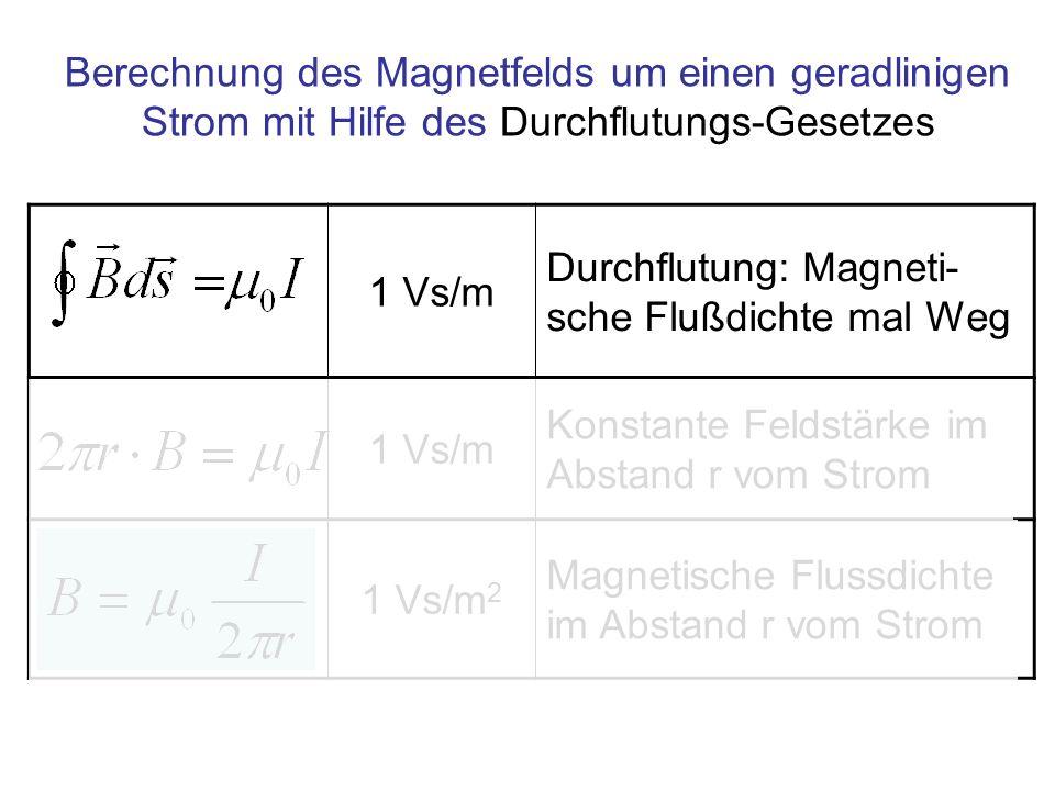 Berechnung des Magnetfelds um einen geradlinigen Strom mit Hilfe des Durchflutungs-Gesetzes