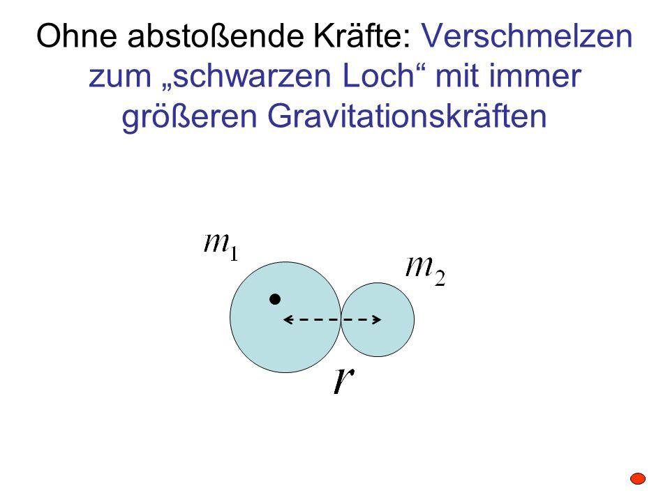 """Ohne abstoßende Kräfte: Verschmelzen zum """"schwarzen Loch mit immer größeren Gravitationskräften"""