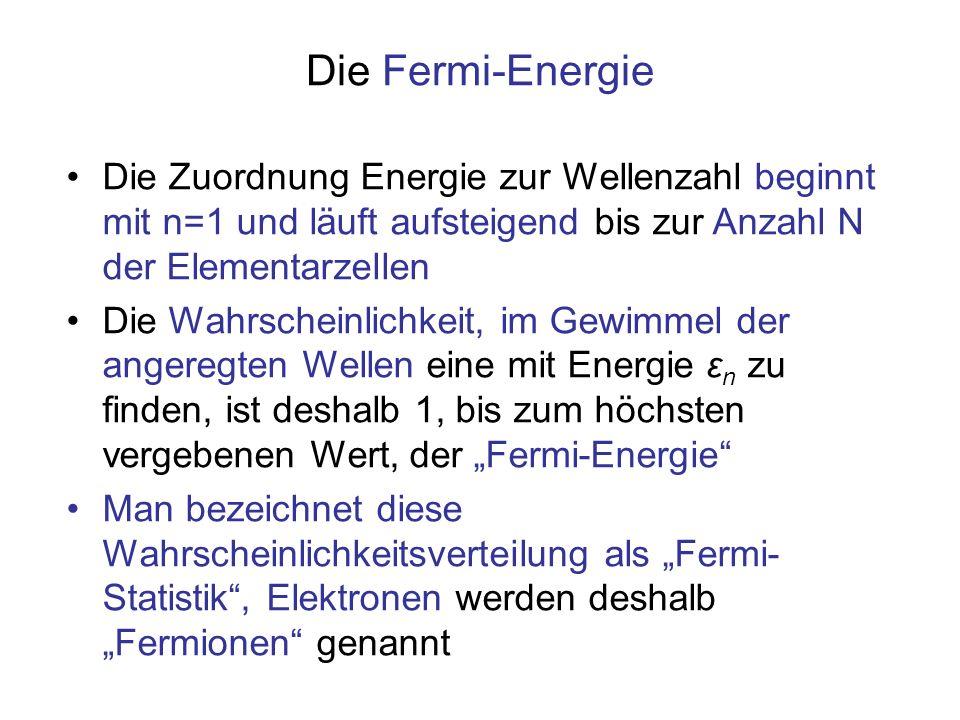 Die Fermi-Energie Die Zuordnung Energie zur Wellenzahl beginnt mit n=1 und läuft aufsteigend bis zur Anzahl N der Elementarzellen.