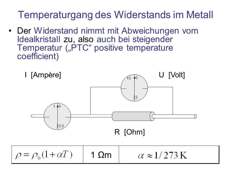Temperaturgang des Widerstands im Metall