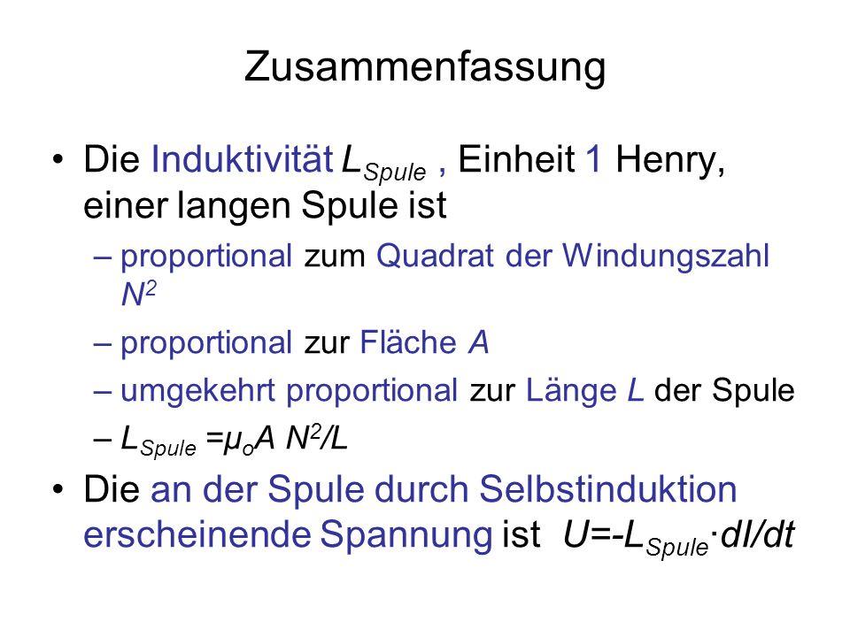 ZusammenfassungDie Induktivität LSpule , Einheit 1 Henry, einer langen Spule ist. proportional zum Quadrat der Windungszahl N2.