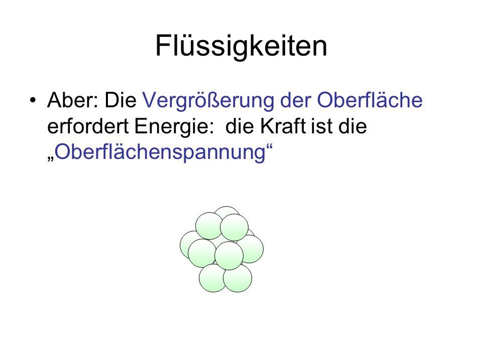 """Flüssigkeiten Aber: Die Vergrößerung der Oberfläche erfordert Energie: die Kraft ist die """"Oberflächenspannung"""