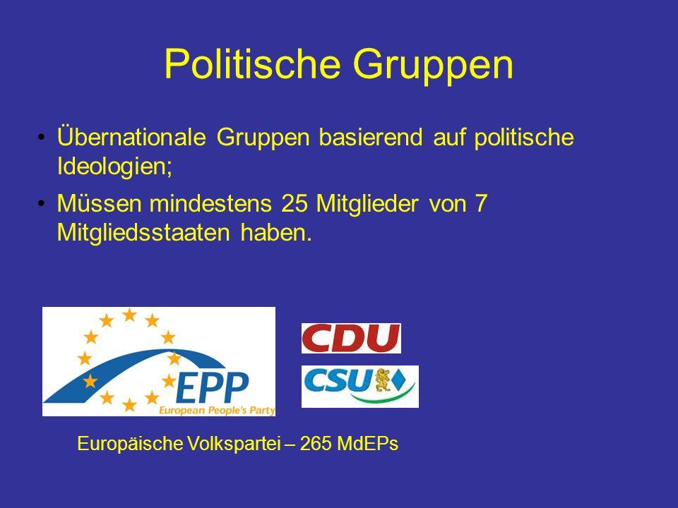 Politische Gruppen Übernationale Gruppen basierend auf politische Ideologien; Müssen mindestens 25 Mitglieder von 7 Mitgliedsstaaten haben.
