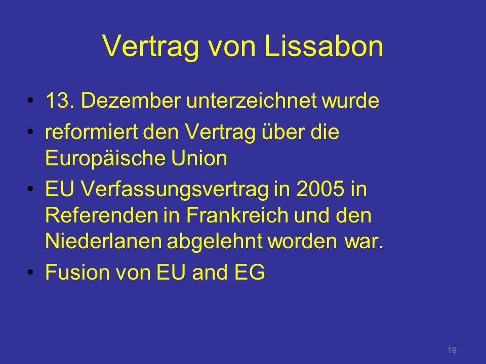 Vertrag von Lissabon 13. Dezember unterzeichnet wurde