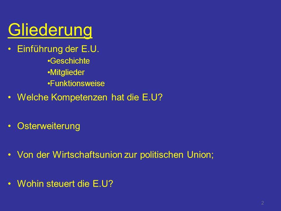 Gliederung Einführung der E.U. Welche Kompetenzen hat die E.U