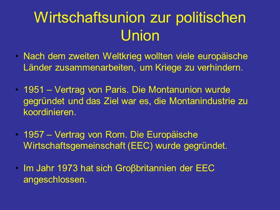 Wirtschaftsunion zur politischen Union
