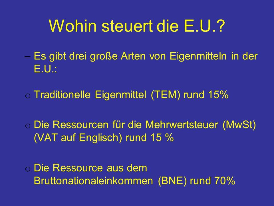 Wohin steuert die E.U. Es gibt drei große Arten von Eigenmitteln in der E.U.: Traditionelle Eigenmittel (TEM) rund 15%