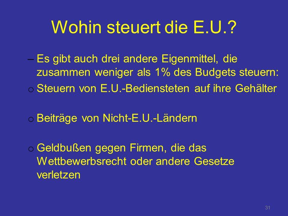 Wohin steuert die E.U. Es gibt auch drei andere Eigenmittel, die zusammen weniger als 1% des Budgets steuern: