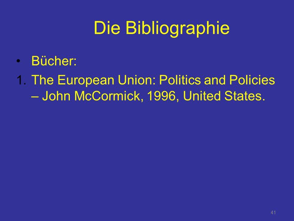 Die Bibliographie Bücher:
