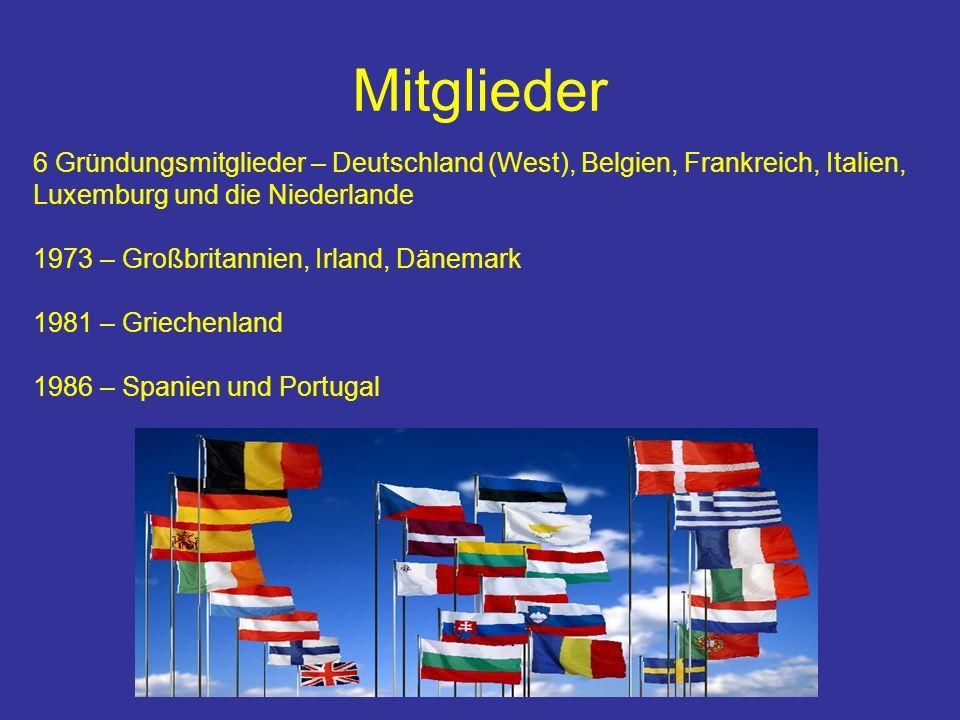 Mitglieder 6 Gründungsmitglieder – Deutschland (West), Belgien, Frankreich, Italien, Luxemburg und die Niederlande.