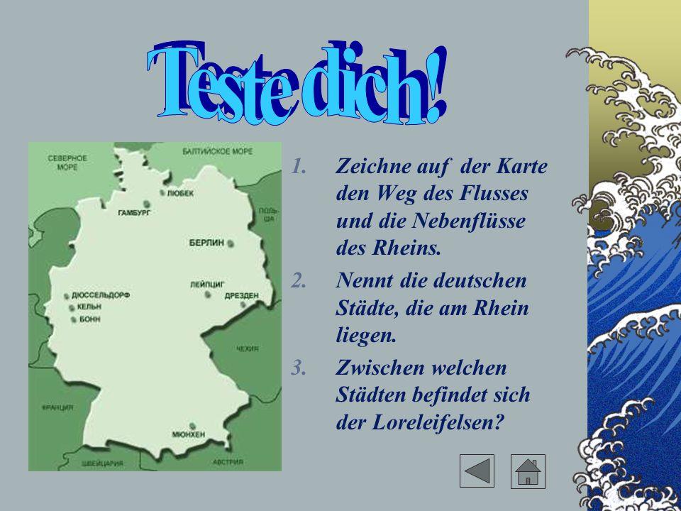 Teste dich! Zeichne auf der Karte den Weg des Flusses und die Nebenflüsse des Rheins. Nennt die deutschen Städte, die am Rhein liegen.