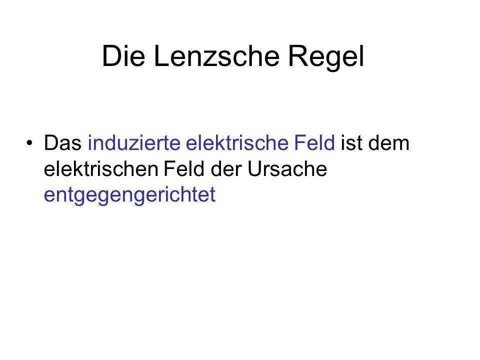 Die Lenzsche Regel Das induzierte elektrische Feld ist dem elektrischen Feld der Ursache entgegengerichtet.