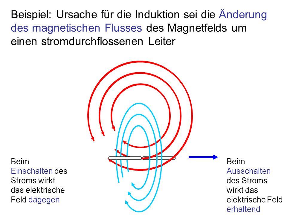 Beispiel: Ursache für die Induktion sei die Änderung des magnetischen Flusses des Magnetfelds um einen stromdurchflossenen Leiter