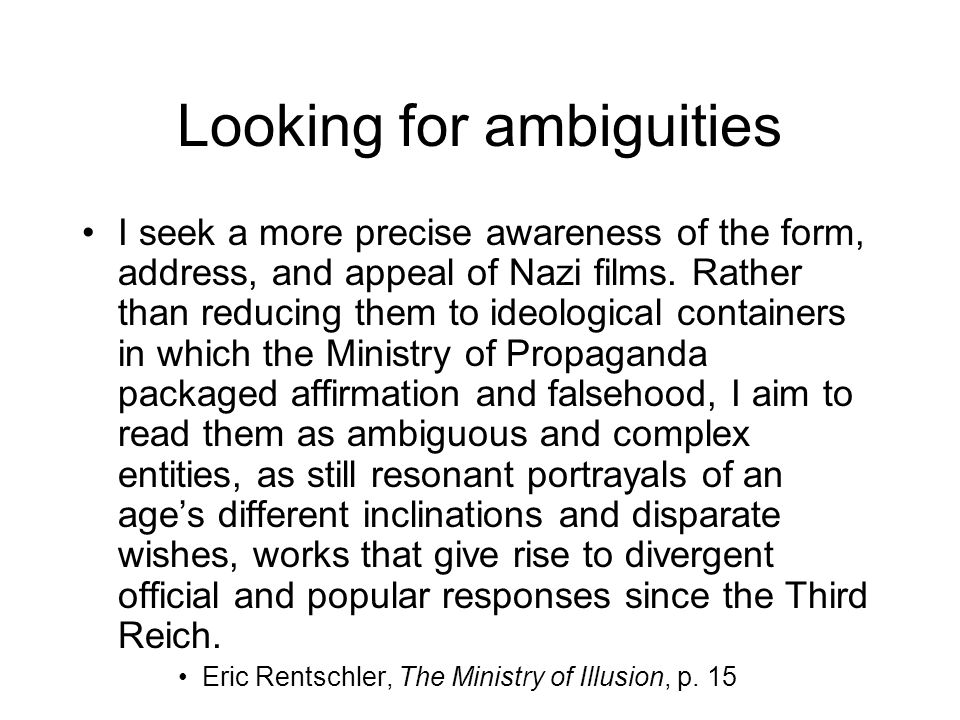 Looking for ambiguities