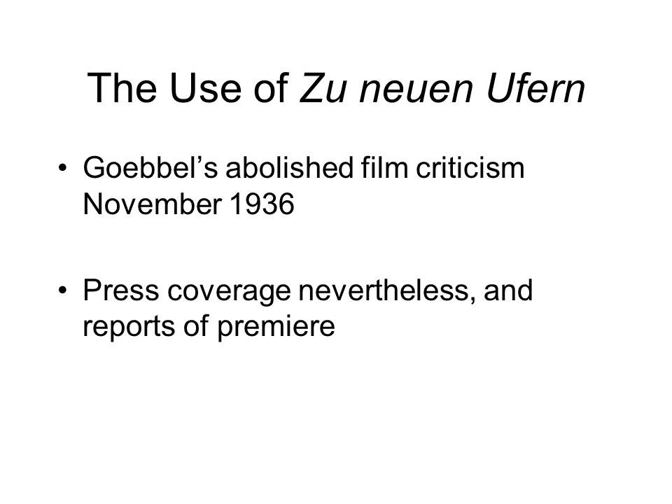 The Use of Zu neuen Ufern