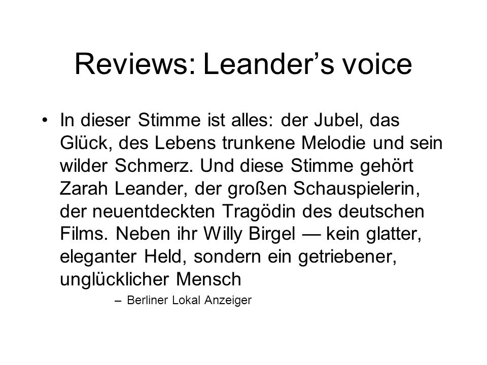 Reviews: Leander's voice