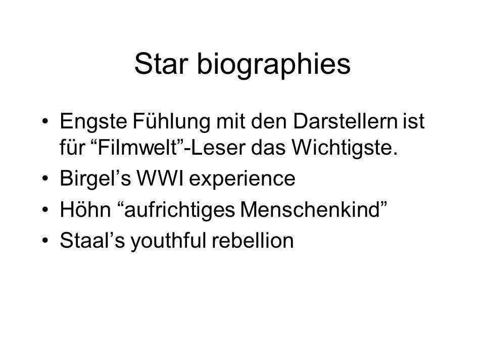 Star biographies Engste Fühlung mit den Darstellern ist für Filmwelt -Leser das Wichtigste. Birgel's WWI experience.