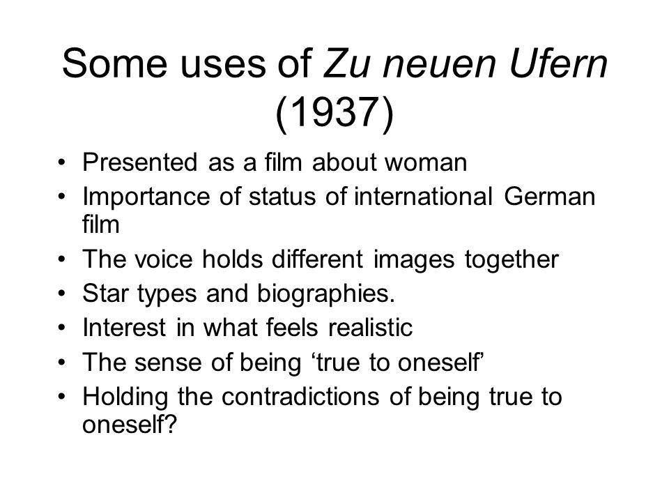 Some uses of Zu neuen Ufern (1937)