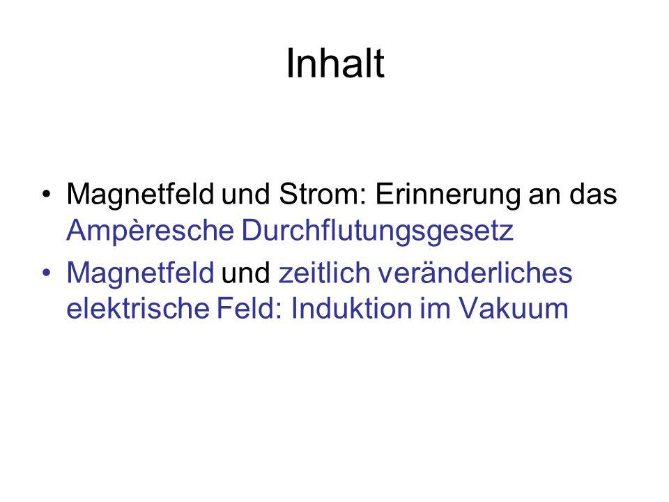 Inhalt Magnetfeld und Strom: Erinnerung an das Ampèresche Durchflutungsgesetz.
