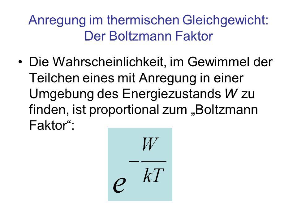 Anregung im thermischen Gleichgewicht: Der Boltzmann Faktor