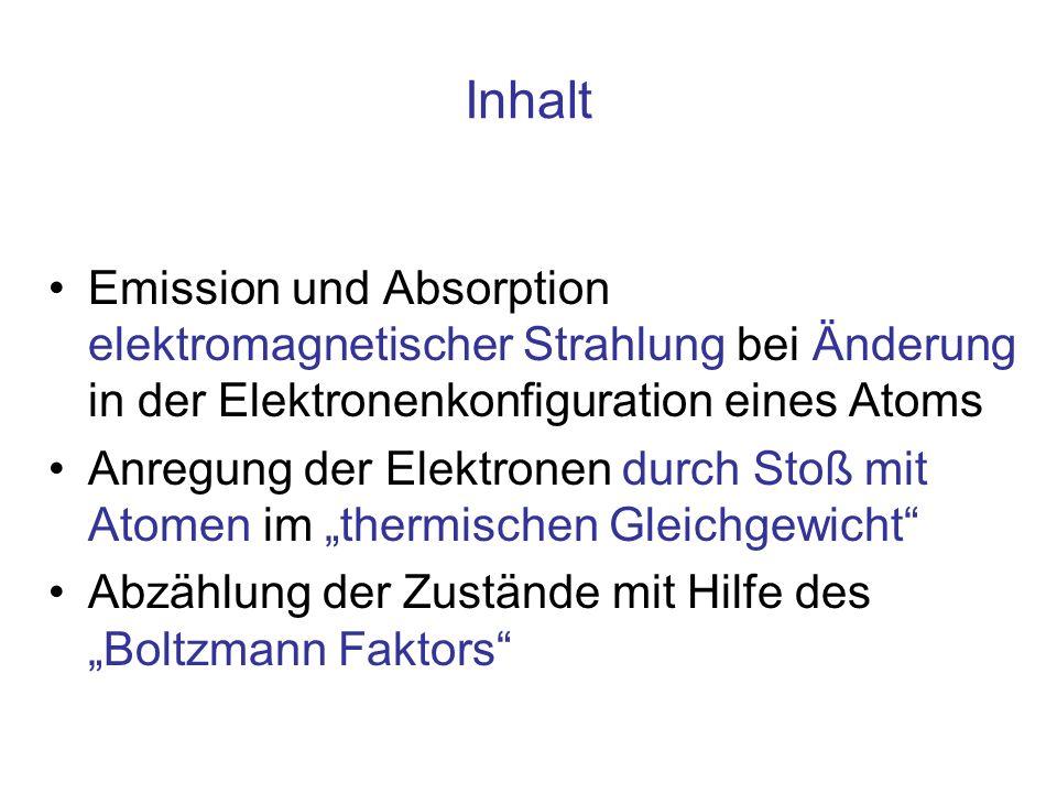 Inhalt Emission und Absorption elektromagnetischer Strahlung bei Änderung in der Elektronenkonfiguration eines Atoms.