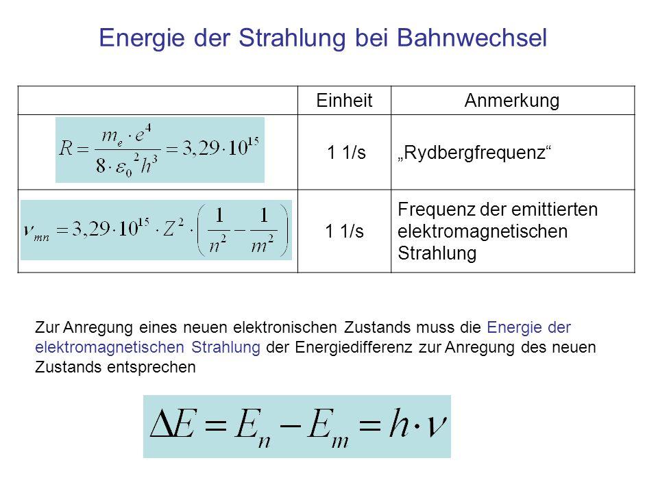Energie der Strahlung bei Bahnwechsel
